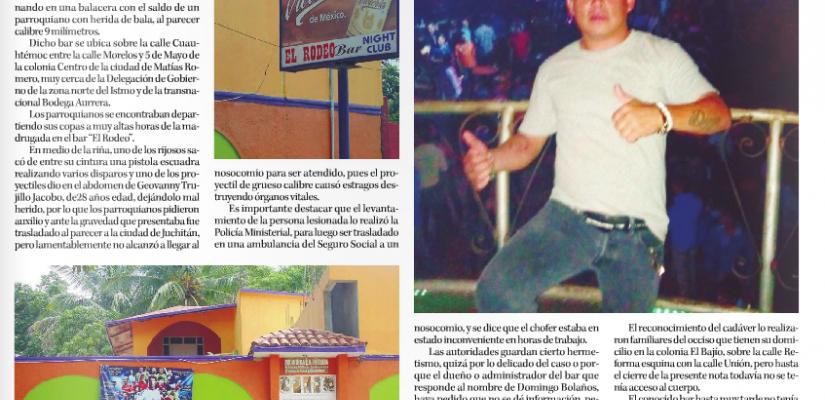Riña deja un muerto en el bar El Rodeo